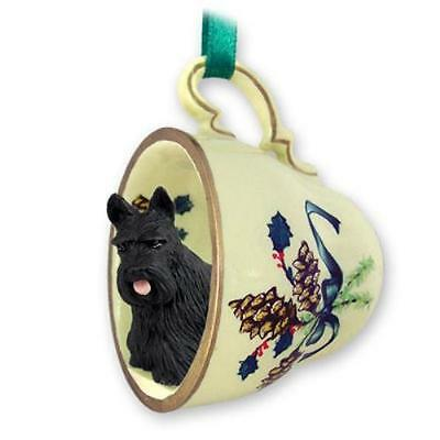 GTCD42 Scottish Terrier Tea Cup Green Holiday Ornament