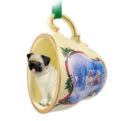 STCD18A CON Pug Fawn Tea Cup Sleigh Ride Holiday Ornament