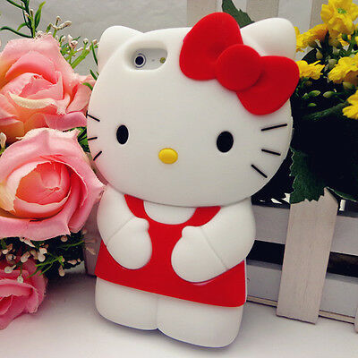 USA FAST SHIP HELLO KITTY CAT RED CUTE 3D IPHONE 5/5S SOFT CASE COVER GIFT