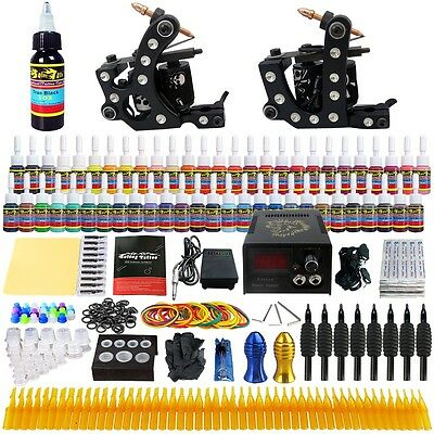 Complete Solong Tattoo Kit 2 Pro Machine Guns 54 Inks Power Supply Needle TK256