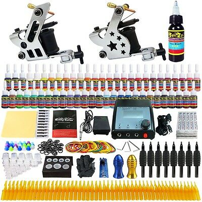 2 Machine Guns Set Complete Solong Tattoo Kits 54 Inks Power Supply Needle TK258