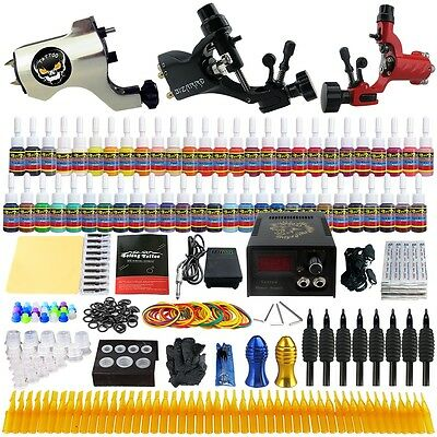 Complete Solong Tattoo Kit 3 Pro Machine Guns 54 Inks Power Supply Needle Grips