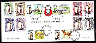 1972 UAE Abu Dhabi Cover Mi.84/95 Definitives with ovpt, clean cover [cm254]