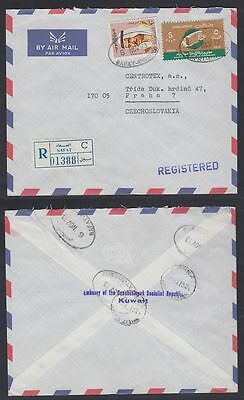 1973 Kuwait R-cover to Czechoslovakia from Embassy, clean SAFAT cds [ca399]