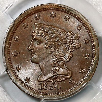 1854 C-1 PCGS MS 64 BN Braided Hair Half Cent Coin 1/2c