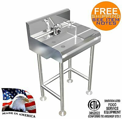 Free Standing Hand Sink 1 User 24X21 Electronic Faucet Hands Free Made In Usa