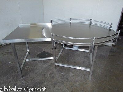 """NEW 60""""Dia. Accumulation Accumulating Rotary Turn Table Feed Table  S/S"""