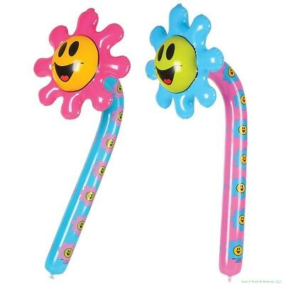 (2) Smiley Face Flower Inflatable Blow Up Decoration - Smile Happy Party Favor