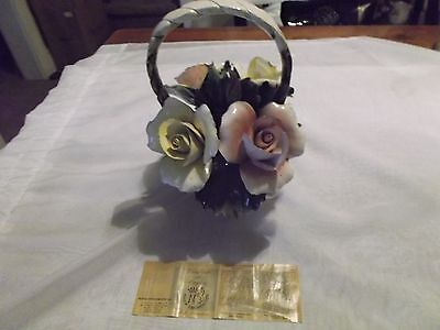 "Capodimonte Basket of Flowers Made in Italy   9"" TALL"