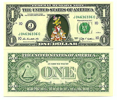 Les 7 NAINS VRAI BILLET 1 DOLLAR US ! Collection Blanche Neige White Snow DISNEY