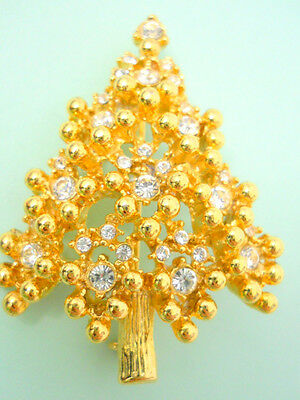 Christmas Tree Pin Brooch Gold Tone Clear Rhinestones Textured C Clasp Vintage