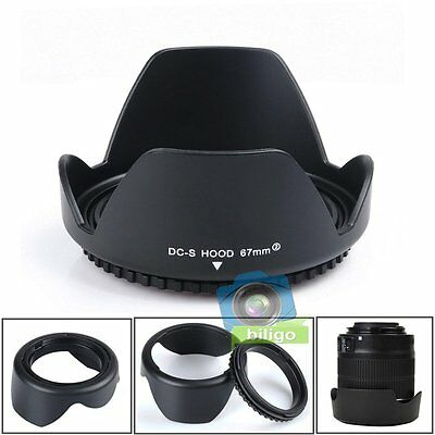 67mm Reversible Petal Flower Lens Hood Screw Mount For Canon Nikon Olympus 【UK】
