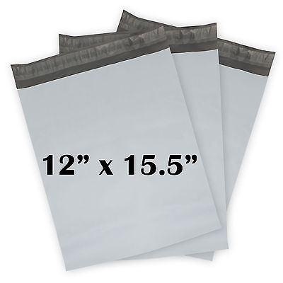"""300 COUNTS OF 12""""x15.5"""" FLAT PLASTIC MAILING BAGS POLY MAILERS ENVELOPES BAGS"""