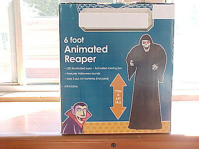 NIB 6 Ft LIFE SIZE STANDING ANIMATED TALKING GRIM REAPER HALLOWEEN PROP/SCARY