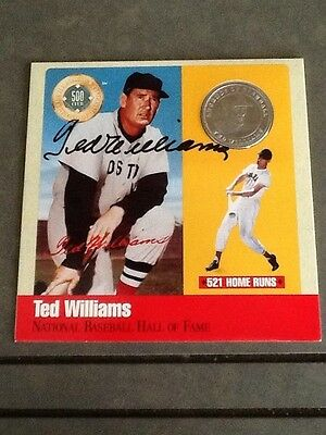 TED WILLIAMS AUTO SILVER COIN HOF AUTOGRAPH SIGNED CERTIFIED RED SOX PHOTO HOF !