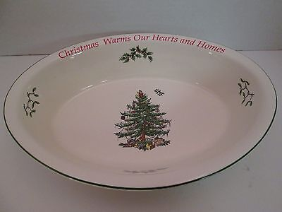 Spode Christmas Tree Oval Rim Serving Bowl Christmas Warms our Hearts Homes dish