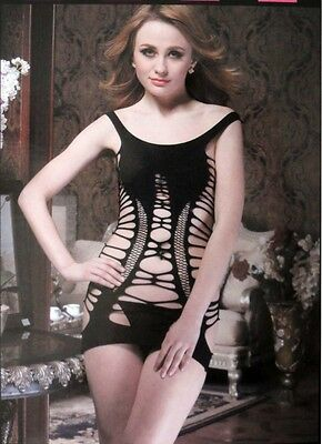 Bodystocking Dress Large Weave Fishnet Holes Black Lingerie Petite Sz 4-6 AU