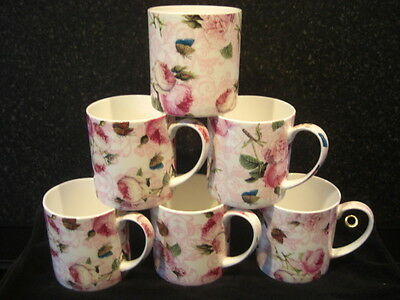 BRAND NEW FINE BONE CHINA PINK AND WHITE ROSE WITH BUTTERFLY   MUGS X 6