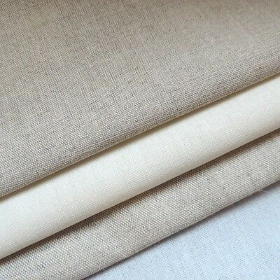 """Cotton Linen Mix 60"""" Wide Plain Natural Embroidery Felting Quilt Doll Pink White"""