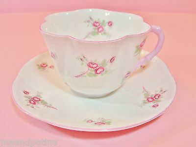SHELLEY ROSE SPRAY DAINTY SHAPE PORCELAIN CUP AND SAUCER PINK AND WHITE ROSES