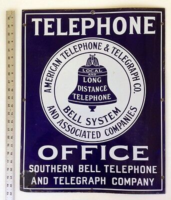 Bell System- Southern Bell Telephone and Telegraph - 1920s Porcelain Office Sign
