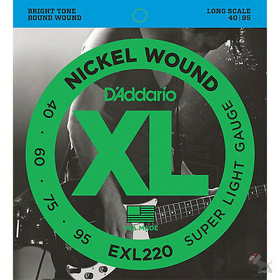 D'Addario EXL220 Nickel Wound Bass Strings Super Light Long Scale 40-95