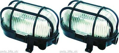 2 X Byron Oval Caged Bulkhead Wall Lamp Light Lantern Home Security Lighting 60W
