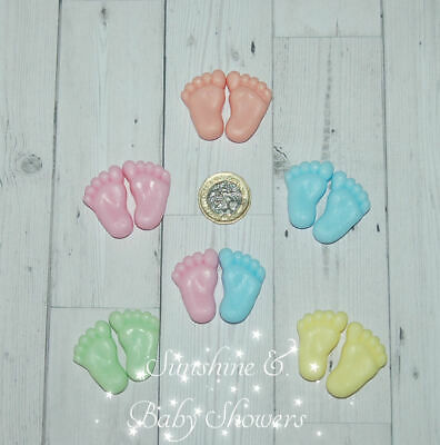 TINY FEET SOAPS PERSONALISED Cute Baby Shower Favours 5 Pair Boy Girl Neutral
