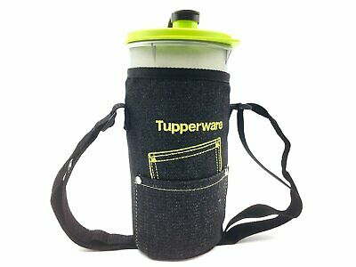 Tupperware Tumbler 1.5L Water Drink On The Go Black Green with Pouch