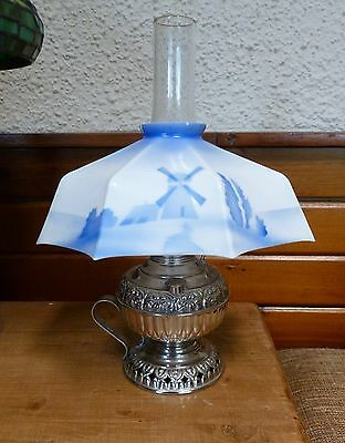 Vintage Tiny Juno Metal Oil Lamp With Blue Delft Porcelain Windmill Shade USA