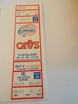 Los Angeles Clippers Cleveland Cavaliers 3-10-89 Full Unused Ticket SK3