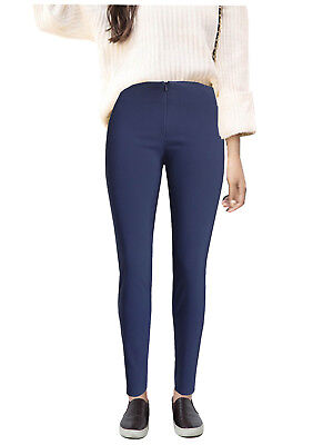 Navy Blue Girls Ladies Skinny School Stretch Trousers Invisible Zip Women Office