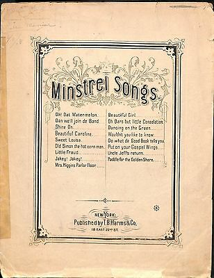 """1874 """"Shine On Remembrance Of The South"""" Ethnic Sheet Music Minstrel Songs Song"""