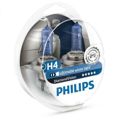 PHILIPS H4 Diamond Vision 5000K Bulbs 12342DVS2 - Aus Seller