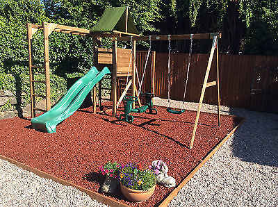 Rubber Play Bark Chippings for Play Areas. Safe Surface Rubber Mulch 500kg/25m2