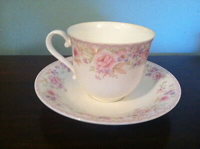 Noritake Studio Collection Bone China Cup and Saucer - Pink Flowers