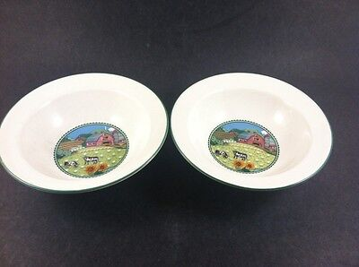 "Set of 2 Noritake Country Fences 6 1/4"" Cereal Bowls 7920"