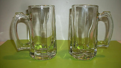 2 Clear Glass 12 oz.Libby Glasses Beer Mugs Heavy Glass Thumb Rest on handle