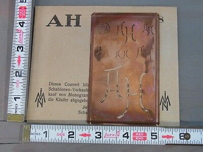 Æ N178 * AH / HA * Unique Rare Copper Monogram Stencil Antique German 1910's