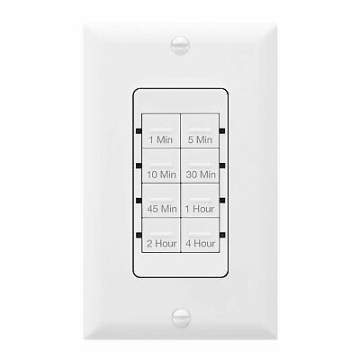 Light Switch Countdown Timer Night-Light LED W/Screw-Less Wall Plate White