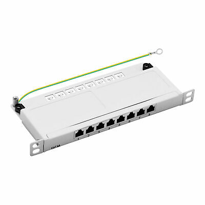 Mini-Patchpanel CAT.6a 8-port GESCHIRMT 0,5HE 10GB Desktop Aufputzmontage grau
