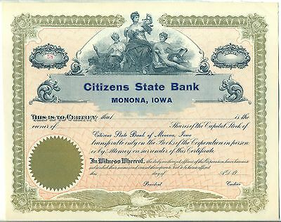 Citizens State Bank Monona Iowa Stock Certificate Financial Unissued
