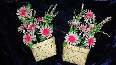 1981 Miller Studios 2 Plaster Baskets with Plastic Flowers
