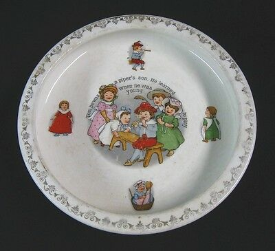 """Circa 1915 china/pottery """"HOLD FAST"""" Nursery Rhymes Baby Plate/ Bowl - REDUCED"""