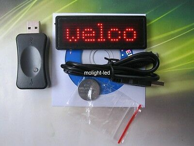 Free Ship- 1 PCS Red Scrolling Message LED Name Badge/Name Tag With USB Software