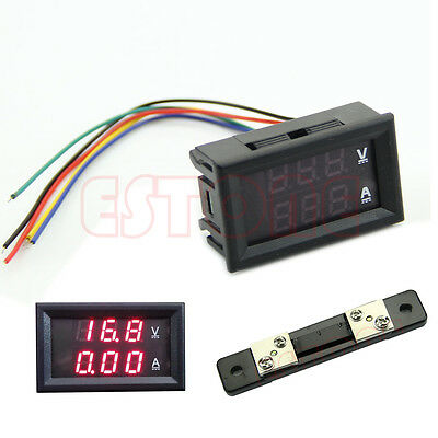 DC 100V 50A Dual Digital Voltmeter Ammeter Red LED Amp Volt Meter+Current Shunt