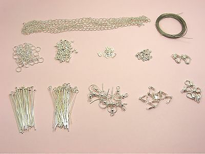 Jewellery Making Beading FINDINGS KIT ~Wire/ PINS/ Chain/ CLASPS/ Crimps/ HOOKS~