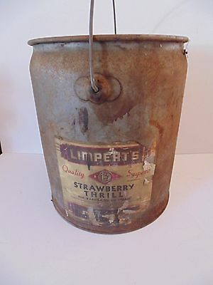 Vintage Limpert's Strawberry Thrill Ice Cream Product Metal Container