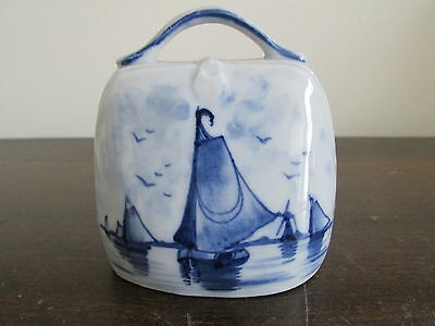 Vintage Delft Blue Hand Painted  Bell Boat