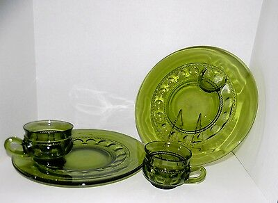Two (2) Indiana Glass Kings Crown Thumbprint Green Snack Sets~Near Mint~Vintage!